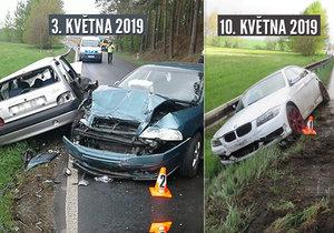 U křižovatky na Blížejov u Domažlic se staly během jednoho týdne dvě vážné dopravní nehody na stejném místě.