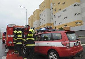 Zásah hasičů v Horních Měcholupech: Při požáru se nadýchaly dvě osoby, čtyři psi skončili u veterináře