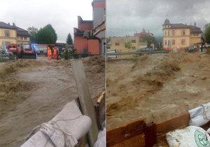 Velká voda v Rožnově pod Radhoštěm (22. 5. 2019)