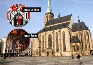 V katedrále sv. Bartoloměje v Plzni je místo správného městského znaku s rytířem vyobrazen Žid.