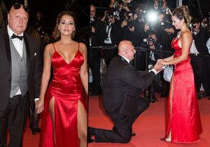 """Český milionář Miloš Kant (63) požádal na červeném koberci v Cannes svou přítelkyni (25) o ruku. Řekla mu """"ano""""!"""