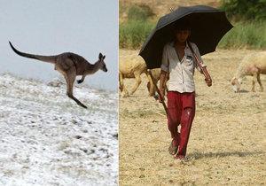 Indie se potýká s extrémním vedrem a v Austrálii sněží.
