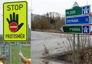 U dálnic přibudou další značky upozorňující na jízdu v protisměru