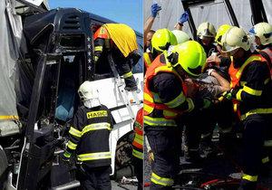 U Litovle se srazil autobus plný dětí s kamionem