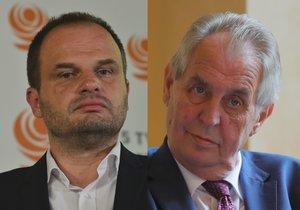 Kandidát ČSSD na ministra kultury Michal Šmarda (vlevo) a prezident Miloš Zeman