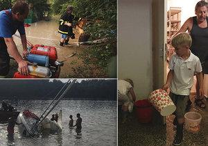 Silné bouřky vyplavily sklepy, školku a převrhly i plachetnici na Slapech (15.6.2019)