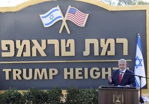 Izrael pojmenoval po americkém prezidentovi Donaldu Trumpovi osadu na Golanských výšinách