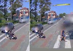 Šílené video z Rožnova: Matka s kočárkem i jiní chodci vběhli do cesty houkající hasičské cisterně.