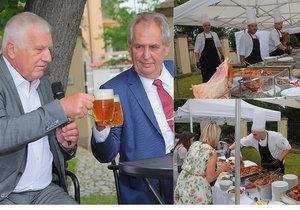 Klaus se Zemanem na oslavě 78. narozenin exprezidenta Klause