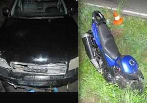 Motorkář nepřežil střet s osobním vozem