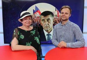Politoložka Vladimíra Dvořáková byla hostem pořadu Epicentrum dne 24. 6. 2019. Vpravo moderátor Jakub Veinlich.