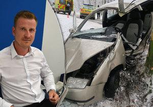 Řidiče, který v únoru naboural do stromu a těžce se zranil, zachránil Tomáš Trupl (na snímku) s kamarádem Igorem Janíčkem. Stali se gentlemany silnic.