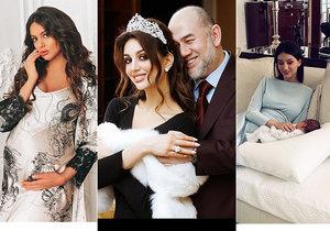 Oksana Vojevodinová, která se provdala za malajsijského sultána Muhammada V., jenž po jejich svatbě abdikoval, sdílela první snímky ze svatby i fotky novorozeného syna.