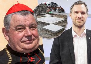 Ještě nestojí a už rozdmychává protichůdné názory. Arcibiskupovi se nelíbí názor primátora hlavního města, který mariánský sloup přirovnal ke Stalinovu pomníku na Letné.