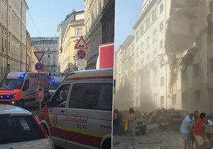 Ve Vídni ze zřítila část domu po výbuchu plynu.