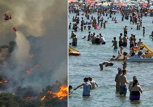 Extrémní počasí vyhnalo v Evropě lidi k vodě. S požáry bojují ve Španělsku či Francii