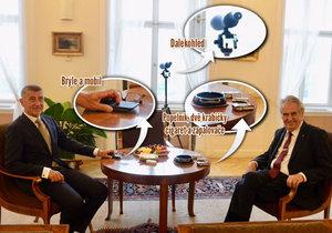 Premiér Andrej Babiš (ANO, vlevo), prezident Miloš Zeman a jejich výbava pro hradní jednání (11. 7. 2019)