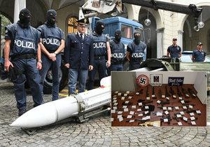 Zátah na extremisty v Itálii: Náckům zabavili i funkční raketu!