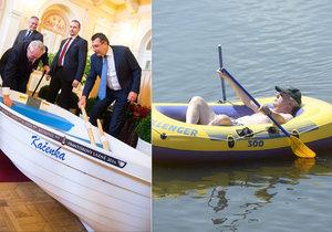 Zeman má na rybníku v Lánech loďku Kačenku, v Novém Veselí pak nafukovací Challenger.
