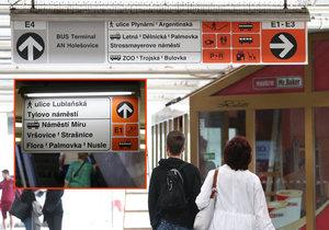 Pražané si pomalu zvykají na nové navigační cedule v metru. Místy připomínají značení jako u dálnic.