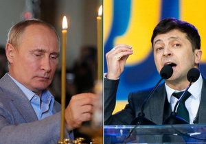 Ukrajinský prezident Zelenskyj a ruský prezident Vladimír Putin: Rusko nabízí občanství, Zelenskyj útočiště