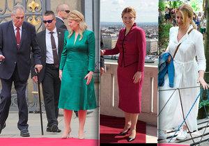 Zuzana Čaputová třikrát jinak: V zelených i bordó šatech a festivalovém ležérnějším outfitu v bílé barvě (ve které vyrazila předtím i do Polska).
