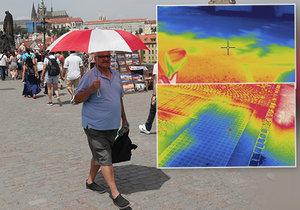 Extrémní hic v Praze: Termokamera ukázala teplotní rozdíly