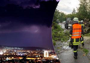 Bouřky řádí v Evropě: Vlevo foto  z Makedonie, vpravo spoušť v Německu