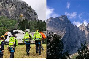 Dva čeští horolezci měli nehodu na skalní stěně Trollveggen v Norsku.