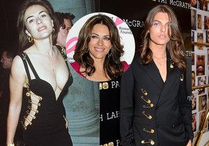 Syn herečky Elizabeth Hurleyové je jejím klonem! Okopíroval dokonce i její slavný outfit.