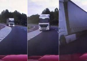 Děsivé video z Karlovarska: Hasičům vyjel v zatáčce do protisměru kamion!