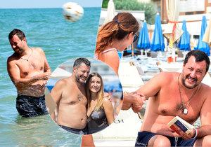Italský ministr vnitra Matteo Salvini na pláži v letovisku Milano Marittima.