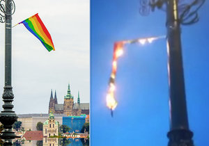 Na mostě Legií někdo zapálil duhovou vlajku.