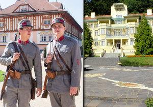 Luxusní secesní lázeňský hotel Dům Bedřicha Smetany si několikrát zahrál jak v Četnických humoreskách, tak v Četnících z Luhačovic.