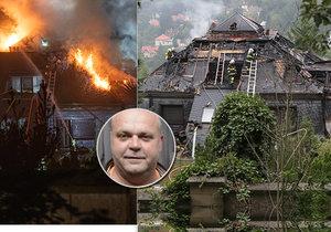 Vilu Radovana Krejčíře zasáhl v noci na 20. srpna 2019 požár.