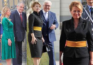 Čaputová vytáhla v Německu kostýmek s výrazným páskem. A promluvila o invazi