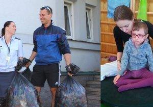 Předávání několika pytlů víček od PET lahví, kterými vojáci chtěli pomoc nemocné Kačence. Vysloužili si za to kritiku.