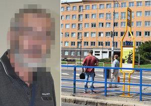 Muže (67) zbil v tramvaji a pak i na zastávce v Ostravě útočník Michal B. (22). K soudu nedorazil.