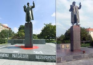 Sochu maršála Koněva, kterou někdo polil ve čtvrtek barvou, umylo několik dobrovolníků.