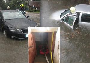 Bouřka doprovázená přívalovým deštěm zatopila vozovky, obchody i sklepy ve Zlínském kraji (26.7.2019)