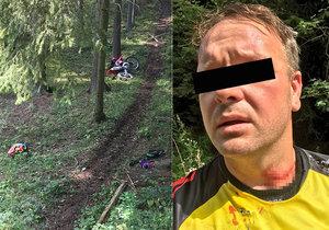 Ostnatý drát motorkáři Petrovi (38) málem uřízl hlavu! Někdo ho natáhl přes cestu v lese