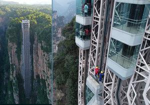 Čína se pyšní světovým unikátem: Nejvyšší venkovní výtah na světě