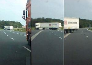 Kamioňák se najednou začal otáčel do protisměru! Řidiči za ním stáli na brzdách!