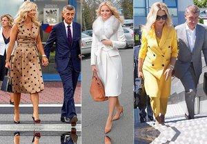 Co cesta za hranice, to exkluzivní model. Monika Babišová si na každou státní návštěvu pečlivě vybírá oděv.