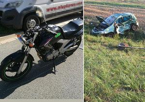 Smrt na českých silnicích: Motorkáři (†65) vjela do cesty dodávka, řidička (†64) přejela do protisměru