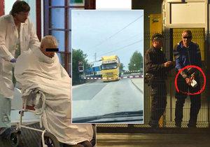 Řidič kamionu odcházel z nemocnice v prostěradle a od soudu v poutech.