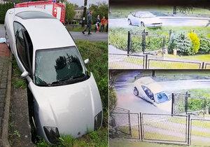 Český řidič havaroval v Polsku: Kvůli vysoké rychlosti skončil po smyku v příkopu.