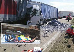 Hromadné nehody kamionů ucpaly D2. Policisté vyrazili den poté na velké kontroly řidičů.