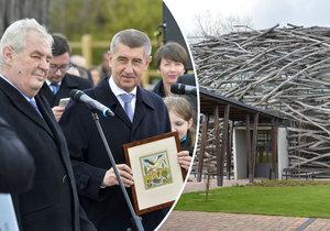 Prezident Miloš Zeman a premiér Andrej Babiš (ANO) na dřívější společné návštěvě Čapího hnízda