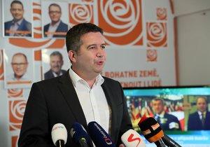 Šéf ČSSD Jan Hamáček na tiskové konferenci v Lidovém domě. (20.9.2019))